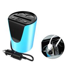 VORCOOL Multifunction Auto Car Cigarette Lighter with Card Slot Dual USB Charger Adapter Cup Shaped for 12-24V Vehicles