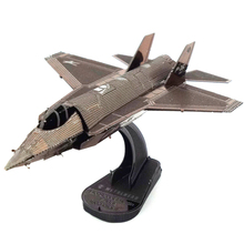 Colorized F35 fighter plane model 3D DIY Metal airplane model for adult and kids diy toys Jigsaw Puzzle best birthday gift