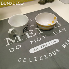 DUNXDECO Table Placemat Cotton Tea Towel Napkin Modern Letter Print Greay Menu Kitchen Desk Accessories Decoration Fabric