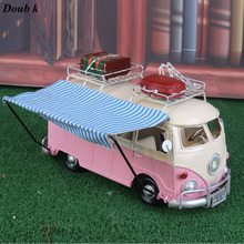 Doub K high quality car model toys Retro iron nostalgia car camping bus ornaments home coffee shop wedding decorations gifts