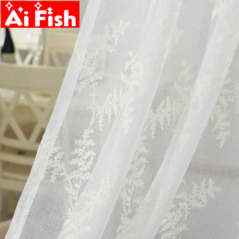 White Screen Linen Yarn Study Dedicated Panels Pine Leaves Embroidery Tulle Curtain For Living Room Bedroom Drapes MY114-40