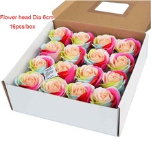 16Pcs/Box Rainbow Soap Rose Flowers Head Decor Orament Rainbow Soap Artificial Flower Petal For Wedding Valentine's Day Gift