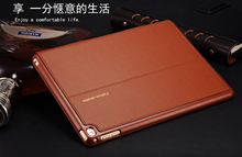Good real genuine leather case for apple ipad air 2 cover slim thin stand flip magetic turn on/off smart protective case shell(China)