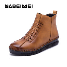 Superstar Retro genuine leather ankle boots women shoes 2017 new short plush Rome rubber boots women waterproof winter shoes