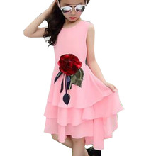 Kids 2017 new summer big flower chiffon girl dress sleeveless solid color dress 3 4 5 6 7 8 9 10 11 12 years baby girl clothes