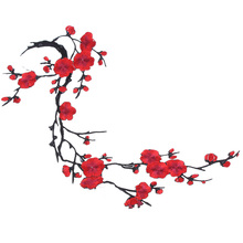 1PC New Plum Blossom Flower Applique Clothing Embroidery Patch Fabric Sticker Elegant Sew-on Clothes Accessories DIY Decoration