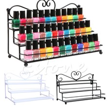 2 Styles 3Tiers Metal Nail Polish Shelf Cosmetic Varnish Display Stand Holder Heart Design Women Makeup Wall Rack Organizer Case(China)