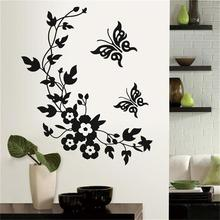 Black Classic Butterfly Flower Wall Stickers Home Wedding Decoration Flora Mural Art  for Living Room Kitchen Bathroom
