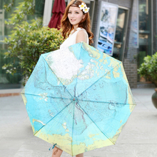 Fashion Three Folding World Map Painting Umbrella For Rain Anti-uv Sun Protection bumbershoot with good pongee material Gift 3
