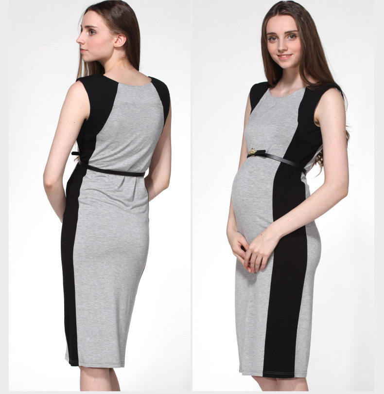 Fashion Slim Maternity Dress Black Paste Color Cotton Sleeveless Vest Dress L92<br>