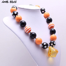 MHS.SUN 2PCS Halloween Style Kid Chunky Necklace Black+Orange Toddler Baby Girl Bubblegum Bead Chunky Necklace Jewelry Children(China)