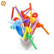 100PCS Mixed Colours Flexible Plastic Bendy Party Disposable Drinking Straws For Kids Birthday Wedding Decoration Event Supplies(China)