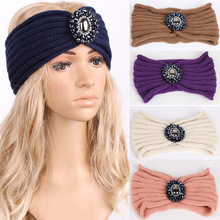 Ladies Jewel hair band hair accessories Women Winter Floral Stretch Turban Soft wide Headband Knitted Beanie Crochet Headwrap(China)
