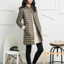 2017 NEW Fasion Autumn Women Long Jackets Coats Chic Collarless Long Sleeve Single Breasted S-XXL
