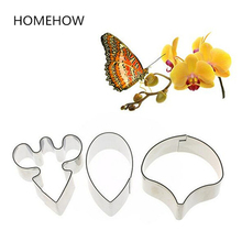 2017 Newest 3PCS/Lot Butterfly Orchid Cake Mold 4.8/4.7/4.5cm Stainless Steel Cake Fondant Decorative Flower Petal Cutting Sets
