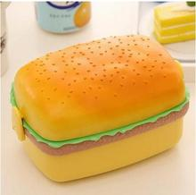 Fashion creative portable cartoon square hamburger shape microwave tableware lunch box for kids food container(China)
