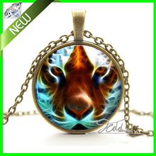 Tiger Necklace Pendant - Silver Wild Cat Animal Digital Art Jewellery Girl Gift Photo Glass Dome Cabochon Necklace Pendant