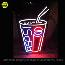 Peps Soda Pop Neon Sign Real Glass Tube Neon Signs Handcrafted Bulbs Beer bar Advertising Neon Lamp Ligh Indoor Motel Sign 19x15(China)