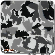 TSAUTOP 0.5m*20m TSMY009-8 Camo Grey White 3D Digital Camouflage Pattern Water Transfer Printing Film Hydrographic Films