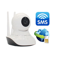GSM Camera Alarm 720P IP Camera WiFi Video Calling SMS Camera Security Monitoring Home Wireless IOS Android APP Infrared W12(Hong Kong)