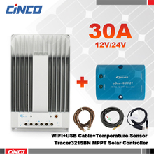 Tracer3215BN 30A 12V/24 MPPT solar controller & eBox-WIFI and USB communication cable & temperature sensor RTS300R47K3.81AV1.1(China)