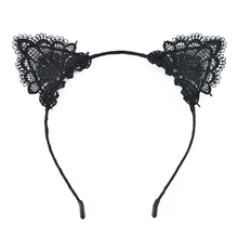 1 Pc Black Lace Cat Ears Headband For Women Girls Hairband Dance Party Sexy Boutique Headwear Hair Accessories