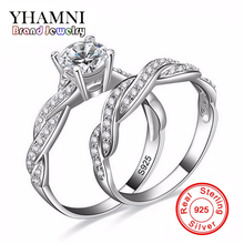 Big Promotion!!! Real 925 Sterling Silver Rings for Women Hearts and Arrows 1 Carat CZ Diamant Brand Two Engagement Ring AMSR127(China)