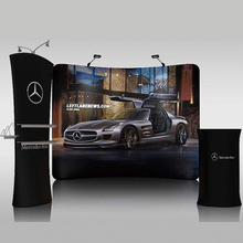 Portable 10' fabric trade show display pop up stand banner booth exhibit tradeshow displays backdrop wall custom graphic print