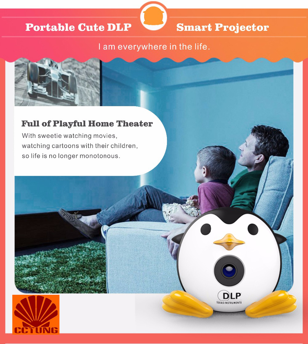 400Lumen Cute Penguin WIFI Micro DLP Mobile LED Projector Support 1080P TF USB HDMI AV & IOS Android Input with Battery Built-in_21