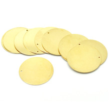 "30Pcs Free shipping Hot New DIY Brass Tone Metal Stamping Blanks Tags Round Charms Pendants Component 28mm(1-1/8"")N15"