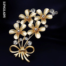 LINGLADY High-end aristocratic temperament flower brooch pin female VIVI magazine shawl pins clothing accessories A2302