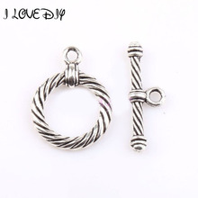 5 Sets Antique Style Tibetan Silver Circle Clasps Finding for Jewelry Making hole size about 2mm