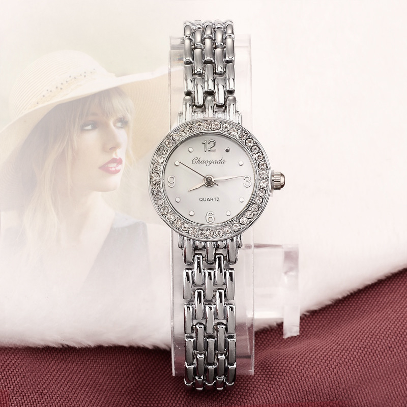 2016 New Arrive Fashion and casual Ladies watches Silver bracelet Luxury crystal watch OEM Round ultra slim dress Quartz watches<br><br>Aliexpress