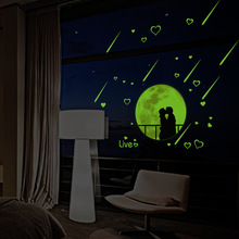 Luminous Stickers Glow In The Dark Romantic Star Love Meteor Shower Wall Sticker Night Light Decal Vinyl Mural Home Decor(China)