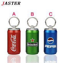 JASTER HOT Full capacity USB flash drive beer bottle metal 8gb 16gb 32gb memory card u disk pen drive pendrive nimi gift(China)