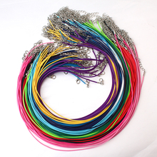 20pcs/lot Dia 1.5mm 17''-19'' Ajustable 15 Colors Waxed Cords Necklace Chain DIY Jewelry Supplies with Lobster Clasp(China)