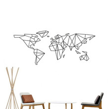Geometry Vinyl Carved World Map Wall Sticker Quotes Living Room Artistic Background Home Decor Sticker Mural Wall Decal