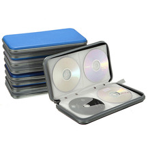 80 Disc CD DVD Carry Case Wallet Storage Holder Bag Hard Box DJ Storage Cover Box Case - Blue Silver Drop Shipping