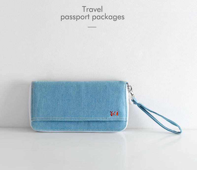 Men Women Travel Passport Cover Document Credit Card Organizer Cover Money Unisex Denim Wallet ID Card Holder Case Strap PC0048 (6)