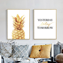 Golden Pineapple White Based Wall Painting Canvas Inspiring Quote Mural Poster Cute Nordic Art Drawing Ornament for Study Office