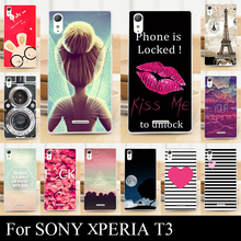 For Sony T3 T 3 Case Colorful Printing Drawing Transparent Plastic Mobile Phone Cover Hard Phone Cases