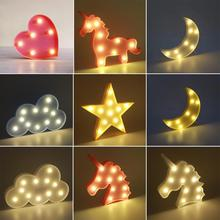 NEW Kids Favorite Cute Small LED Night Light Bedroom Unicorn Cloud Moon Star Heart Home Decor Battery Powered Wall Lamp