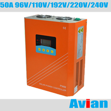 50A 96v 110v 192v 220v 240v Off Grid Solar Controller Solar Regulator for Solar Energy System LCD Display(China)