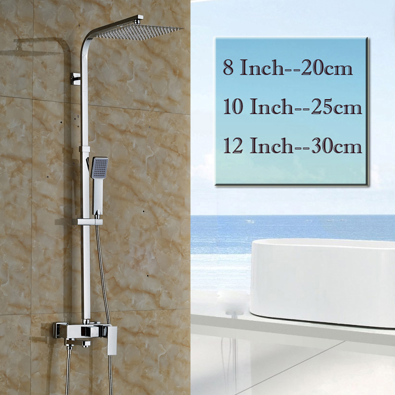 Chrome 8/10/12  Stainless Steel Rain Shower Head Bath Shower Mixer Faucet Set Single Handle Wall Mount with Handshower<br><br>Aliexpress