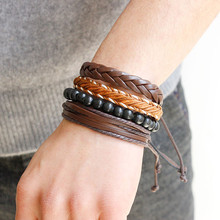 Buy 2017 Vintage Unisex Multilayer Leather Bracelet Rope Brown Beaded Wristband Hand Woven Bracelet Bangle Pulsera Men Jewelry Gifts for $1.03 in AliExpress store