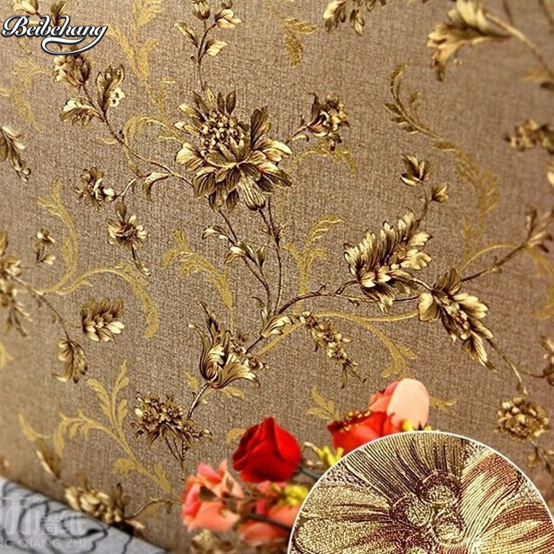 beibehang Retro American rural non - woven wallpaper European - style garden flowers bedroom living room sofa TV wallpaper<br>