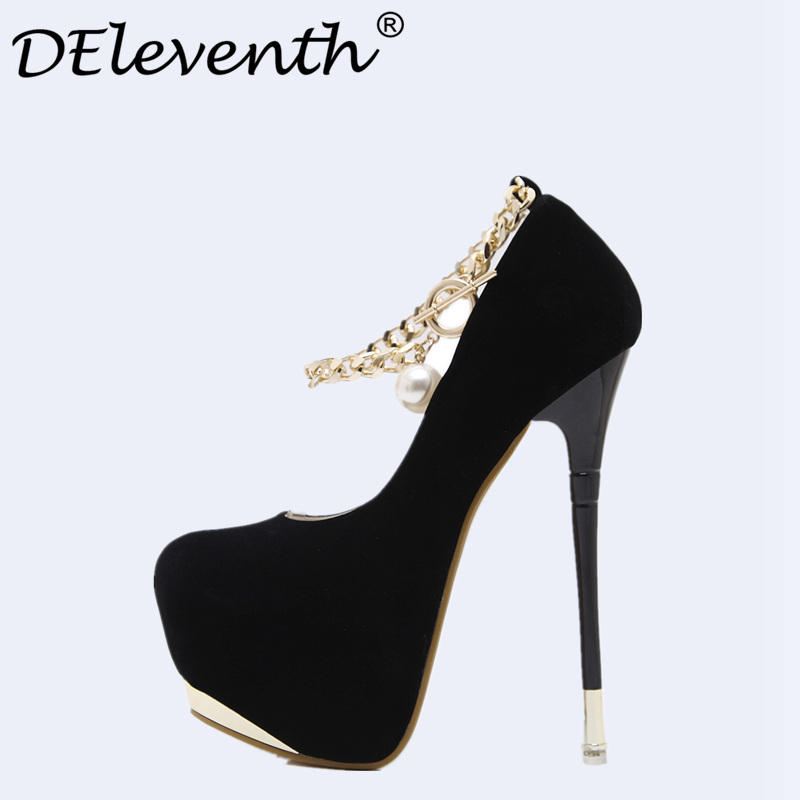 Novelty Pumps woman 2017 Autumn Chain Metal Decoration Shoes Pumps Fetish Super High Heels Evening Party shoes Zapatos Mujer<br>