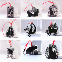 9pcs/lot Creative black Cat series Bookmark Japanese stainless steel Cute Adorable Cat Greeting Card envelope Package 9 design(China)