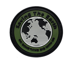 6.5CM Saving The Earth Tactical Do Something Big with us PVC ROUND Patch Morale Badge  For Caps Adhesive Badge Military Armband