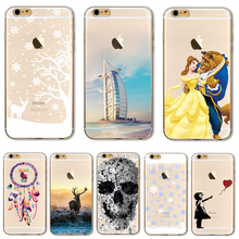 Soft TPU Cover For Apple iPhone5 5S SE 6 6S 6Plus 6SPlus 7 7 Plus Case Phone Shell Hot Sales Christmas Snowflake Deer Charming